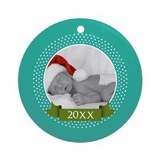 Photo Frame with Year Teal Ornament (Round)