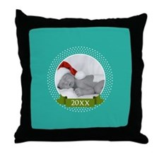 Photo Frame with Year Teal Throw Pillow