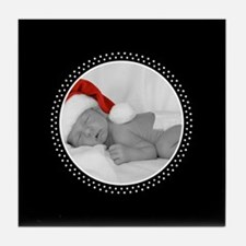Photo Frame Polka DOts Black Tile Coaster