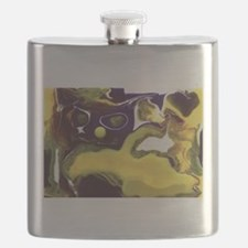 Crazy Abstract Cat Flask