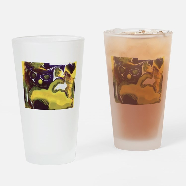 Crazy Abstract Cat Drinking Glass
