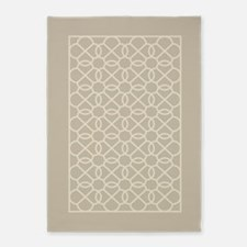 linen taupe geometric pattern 5'x7'Area Rug