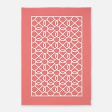 coral white geometric pattern 5'x7'Area Rug