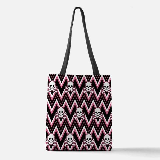 Gothic Pink Skull Chevron Pattern Polyester Tote B
