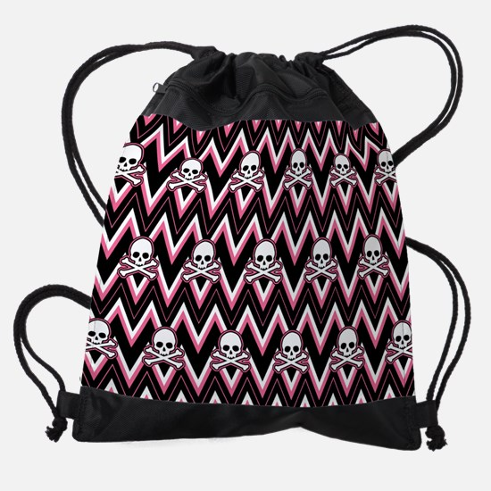 Gothic Pink Skull Chevron Pattern Drawstring Bag