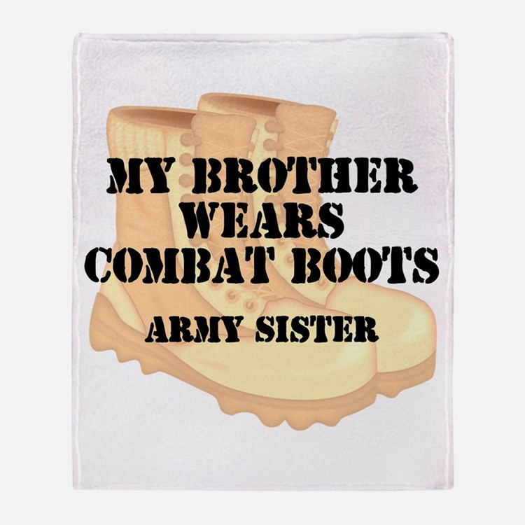 Army Sister Brother Desert Combat Boots Throw Blan