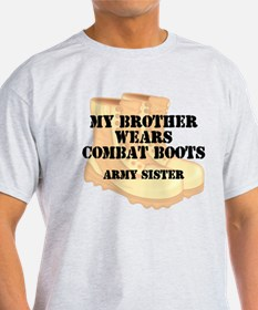 Army Sister Brother Desert Combat Boots T-Shirt