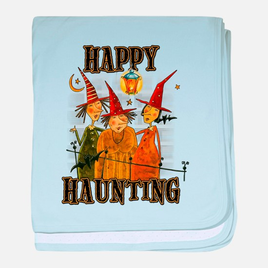 Happy Haunting 3 Witches baby blanket