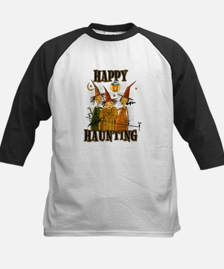 Happy Haunting 3 Witches Kids Baseball Jersey