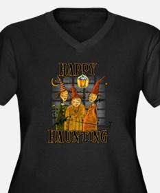 Happy Haunti Women's Plus Size V-Neck Dark T-Shirt