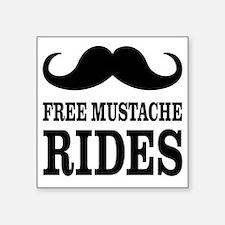 """Mustache Rides Square Sticker 3"""" x 3"""""""