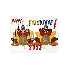 Happy ThanksGiving and Hanukkah 5'x7'Area Rug