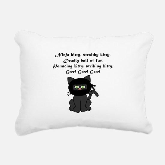 Ninja Kitty Rectangular Canvas Pillow