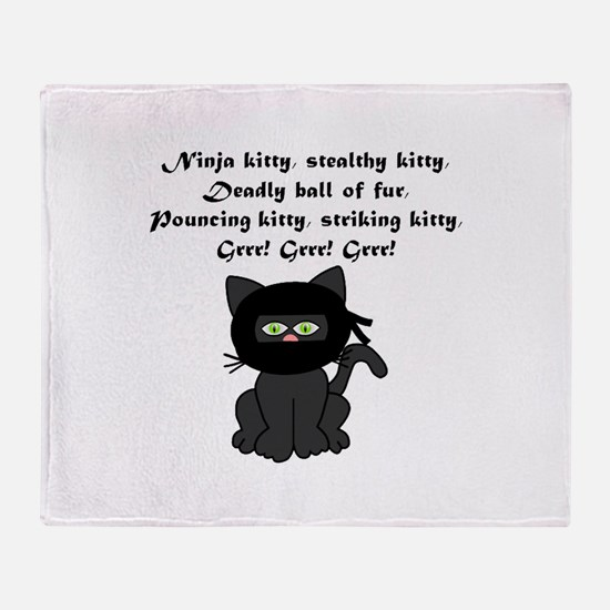 Ninja Kitty Throw Blanket
