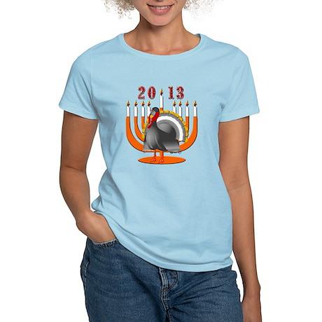 2013 Turkey and Menorah Women's Light T-Shirt