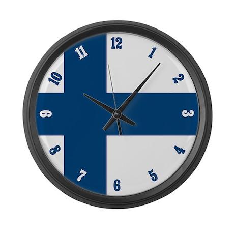 Finnish Flag Large Wall Clock