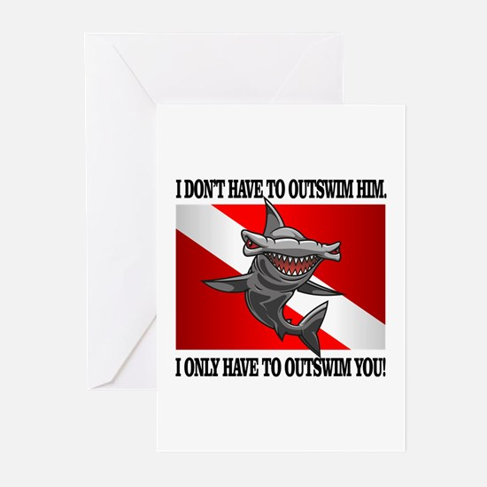 Dive Flag (Outswim) Greeting Cards