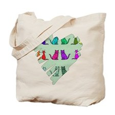 Rainbow Of Cats Heart Tote Bag