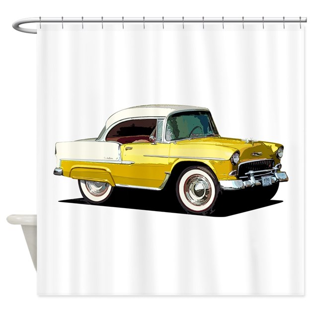 Babyamericanmusclecar 55belr xmas yellow shower cu by for Kitchen colors with white cabinets with muscle car stickers