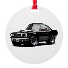 abyAmericanMuscleCar_65_mstg_Xmas_Black Ornament