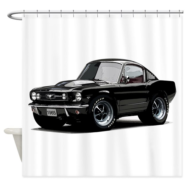 Abyamericanmusclecar 65 mstg xmas black shower cur by for Kitchen colors with white cabinets with muscle car stickers