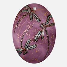 Dragonfly Flit Dusky Rose Ornament (Oval)