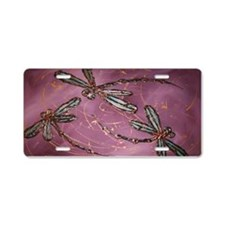 Dragonfly Flit Dusky Rose Aluminum License Plate