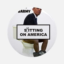 Oh Barmy Sitting On America Ornament (Round)