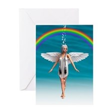 Angel under the Rainbow Greeting Cards
