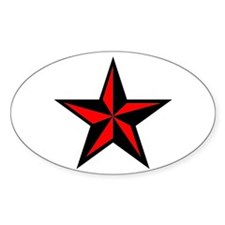 Red Nautical Star Punk Rock Oval Decal