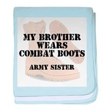 Army Sister Brother wears DCB baby blanket