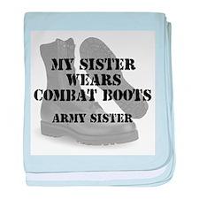 Army Sister wears CB baby blanket