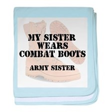 Army Sister wears DCB baby blanket