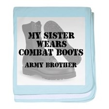 Army Brother Sister wears CB baby blanket