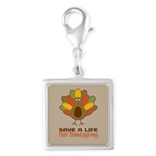 Save a Life This Thanksgiving Silver Square Charm