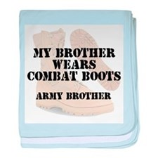Army Brother wears DCB baby blanket