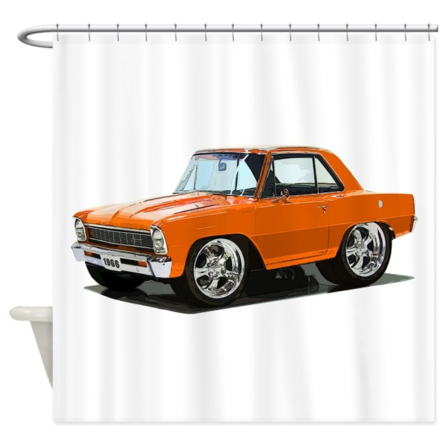 Babyamericanmusclecar 66nova Orange Shower Curtain By