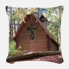 Chapel in woods Woven Throw Pillow