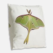 Large Green Moth Burlap Throw Pillow