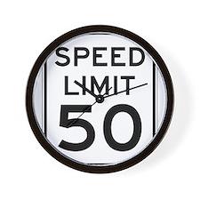Speed Limit 50 Wall Clock