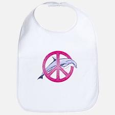 Dolphin Peace Pink Bib