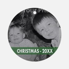 Modern Christmas Green Ornament (Round)