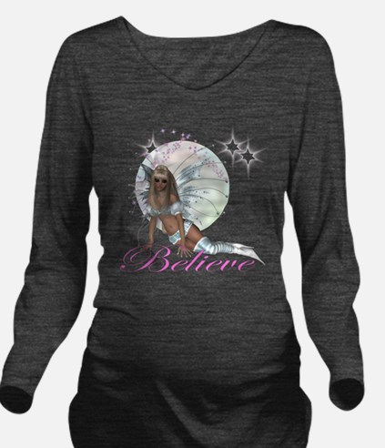 believe fairy moon.png Long Sleeve Maternity T-Shi