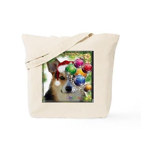 Handsome Holiday Corgi with Bulbs Tote Bag