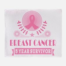Breast Cancer 5 Year Vintage Throw Blanket