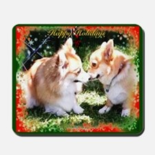 Happy Holiday Corgis Mousepad