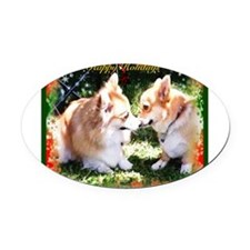 Happy Holiday Corgis Oval Car Magnet