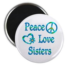 """Peace Love Sisters 2.25"""" Magnet (100 pack)"""