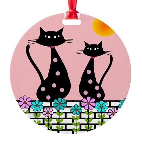 Whimsical Cats 3 Ornament