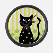 Whimsical Cat 1 Large Wall Clock